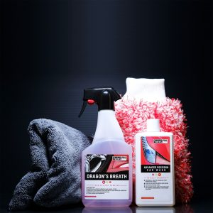 car cleaning products and microfibre towel and mitt
