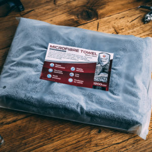 Grey Microfibre Towel in clear packaging